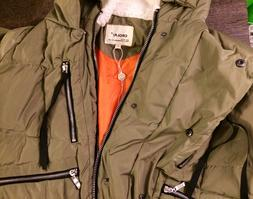 NWT Orolay Women's Thickened Down Jacket Olive Army Green Co