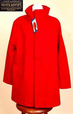 NWT Pendleton Women's Wool Blend Coat Jacket Large Red Full