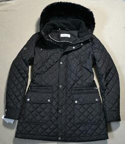 NWT WOMENS CALVIN KLEIN QUILTED BLACK FAUX FUR HOODED JACKET