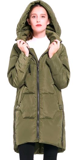 NWT Orolay Women's Down Jacket Hooded Green Coat S-M