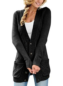 e12a6e1500d3ae Sidefeel Women Open Front Cardigan Sweater Button Down Knit