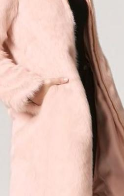 PINK FAUX FUR LONGLINE COAT Large NEW WITH TAGS
