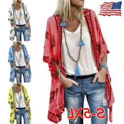 Plus Size Summer Women Boho Beach Cover Up Floral Cardigan K