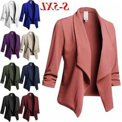Plus Size Womens Collar Suit Jacket Coat Ladies 3/4 Sleeve B