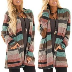 Plus Size Womens Long Sleeve Loose Cardigan Pocket Striped S
