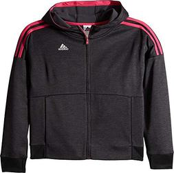 adidas Kids Girl's Poly Fleece Jacket  Black/Bright Pink Med