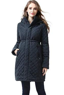 "Momo Maternity ""Prue Quilted Parka Coat - Steel Gray M"
