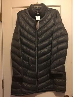 CALVIN KLEIN PUFFER JACKET COAT SZ L PACKABLE LIGHTWEIGHT DO