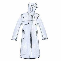 PVC Raincoat Rain Coat Women Girls Men Transparent Hoodie Cl