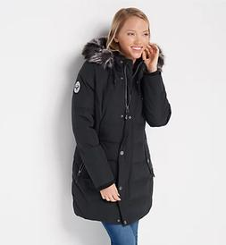 Arctic Expedition Quilted Down Coat with Removable Hood - Bl