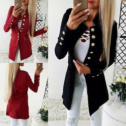 Retro Womens Long Sleeve Blazers Slim Fit Suit Jacket Casual