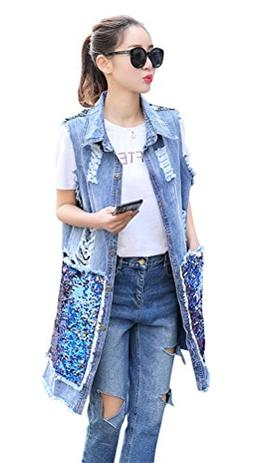 ACE SHOCK Ripped Holes Denim Vest Women MD-Long, Relaxed Jea