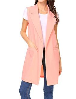 Beyove Women's Sleeveless Oversized Open Longline Duster Bla