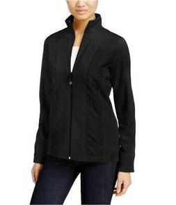 Style & Co. Womens Fleece Quilted Jacket, Black, PS