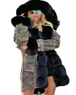 Roiii Thickened Dark Black Faux Fur Amry Green Camouflage Pa