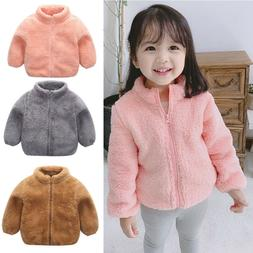 Toddler Kids Baby Girls Boys Cute Fluffy Coat Solid Winter W