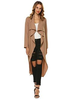 Beyove Trench Coat for Women Long Sleeve Wide Lapel Pockets