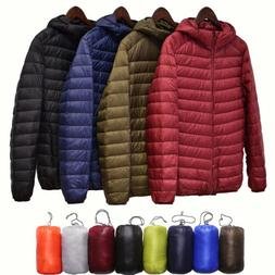 UNQLO'S Men's Ultralight Hooded Duck Down Jacket Puffer Oute