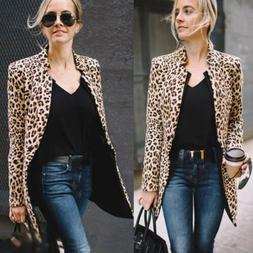 US Fashion Women's Leopard Jacket Sweater Top Warm Casual Su