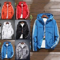 US Men's Hooded Coat Jackets Windbreaker Sports Outerwear Sp