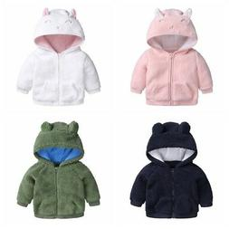 US Newborn Baby Boy Girl Winter Warm Hoodie Coat Infant Zipp