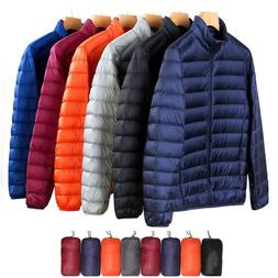 US Packable Men's 90% Down Jacket Ultralight Stand Collar Ou