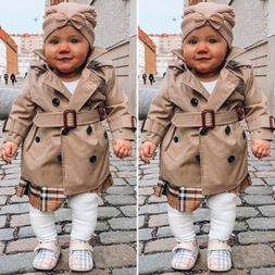 US Toddler Kid Baby Girl Trench Coat Jacket Windbreaker Oute