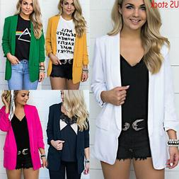 US Women Collar Suit Jacket Blazer Coat Plain Long Sleeve Ca