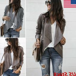 US Women Long Sleeve Cardigan Jacket Casual Blazer Suit Tops