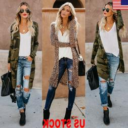 US Women Long Sleeve Cardigan Leopard Kimono Shawl Loose Top