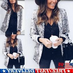 US Women's Snake Skin Print Long Sleeve Pockets Suit Coat Bl