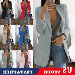 US Women Slim Casual Blazer Jacket Top Outwear OL Jacket Car