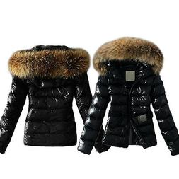 US Women Fur Collar Winter Warm Quilted Coat Bubble Puffer J
