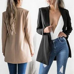 US Womens Long Sleeve  Blazer Jacket Suits Formal Work Suits