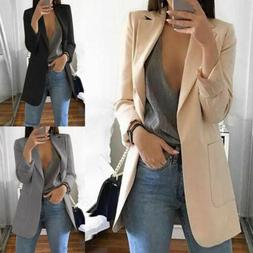US Womens Long Sleeve Vintage OL Slim Fit Blazer Suit Jacket