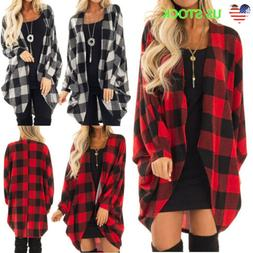 US Womens Plaid Long Sleeve Cardigan Checked Loose Open Fron