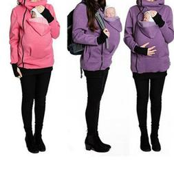 USA Womens Maternity Coat Kangaroo Hooded Jacket Sweatshirt