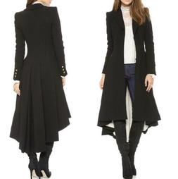 Vintage Womens Steampunk Swallow Tail Goth Long Trench Coat