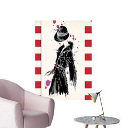 Wall Stickers for Living Room Woman in Trendy Coat Watercolo