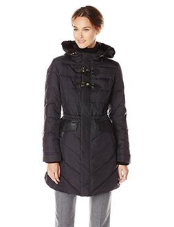 Via Spiga Women's Water Resistant Down Filled Coat with Faux