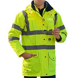 Waterproof Neon Yellow 7-in-1 Reflective Class 3 Safety Park