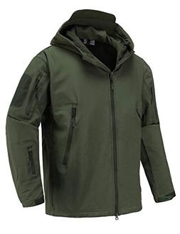 Abollria Men's Outdoor Waterproof Windbreaker Tactical Army
