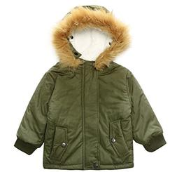 ACE SHOCK Winter Coat Baby Boy, Faux Fur Hood Lamb Wool Line