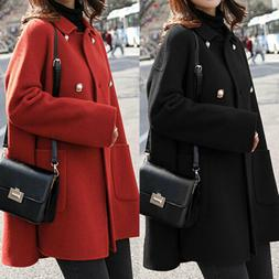 Winter Elegant Women Woolen Lapel Long Coat Trench Parka Jac