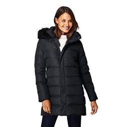 Lands' End Women's Winter Long Down Coat with Faux Fur Hood,