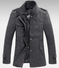 winter Men's wool blend Standing Collar Coats Jackets dress