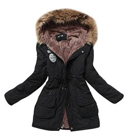 mewow Women's Winter Mid Length Hooded Cotton Padded Fleeced