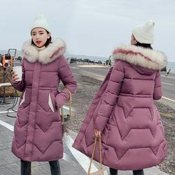 Winter New Women's Jacket Long Down Cotton Coat Hooded Large