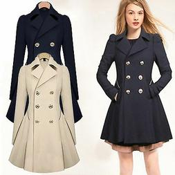 Winter Women Double breasted Long Slim Trench Parka Coat Out