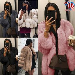 Winter Women Fluffy Faux Fur Jacket Thick Super Warm Outerwe
